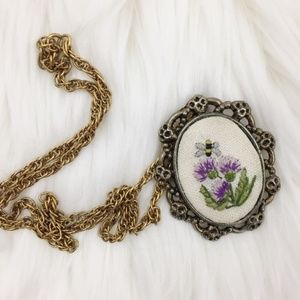 Vintage Cross Stitched Bumblebee Brooch Necklace